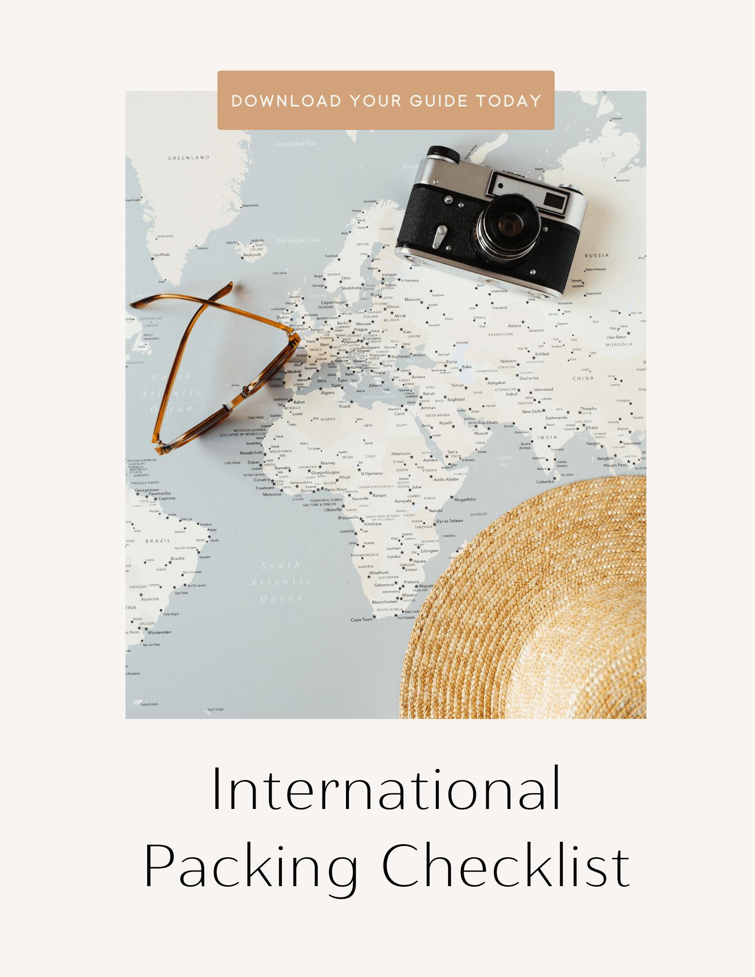 International packing checklist