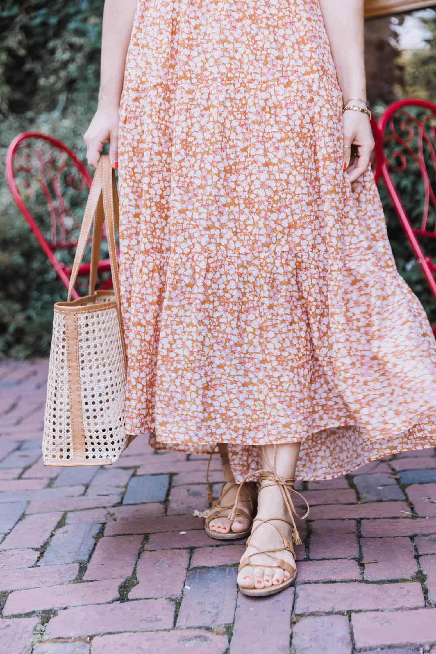 Marigold print dress