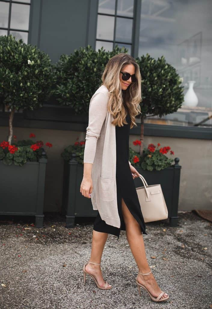 Long Cardigan With A Silky Slip Dress