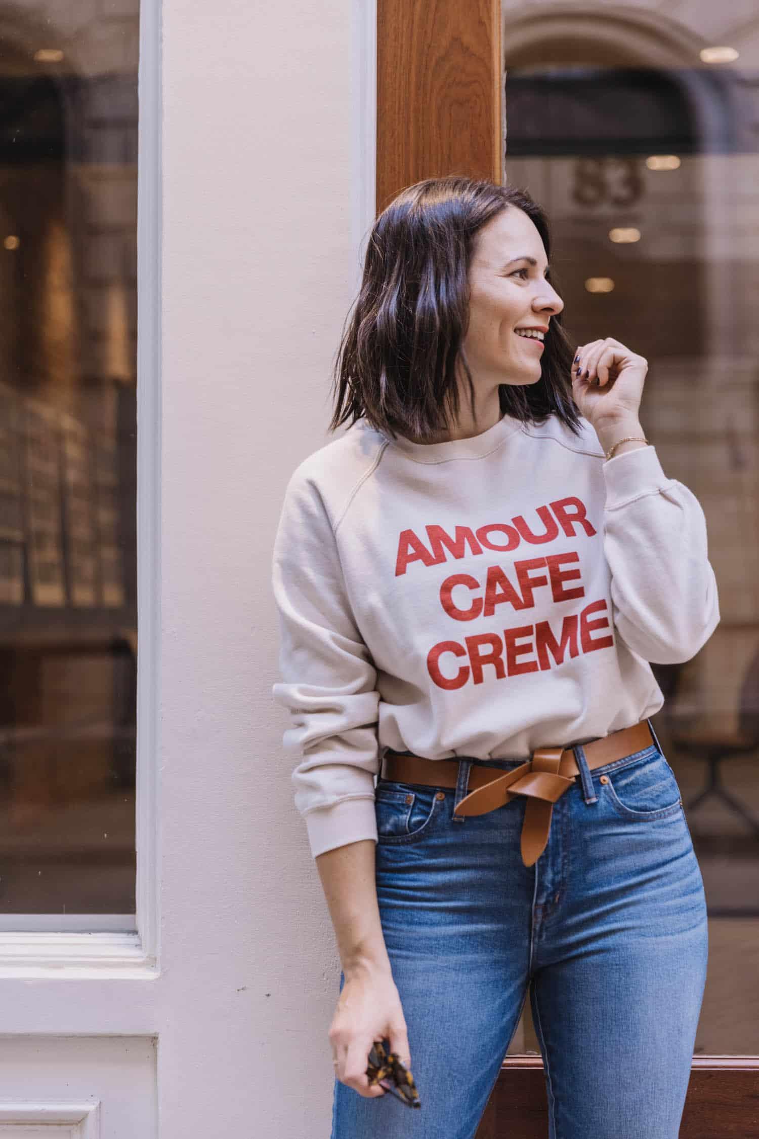 Sezane Amour cafe creme sweatshirt