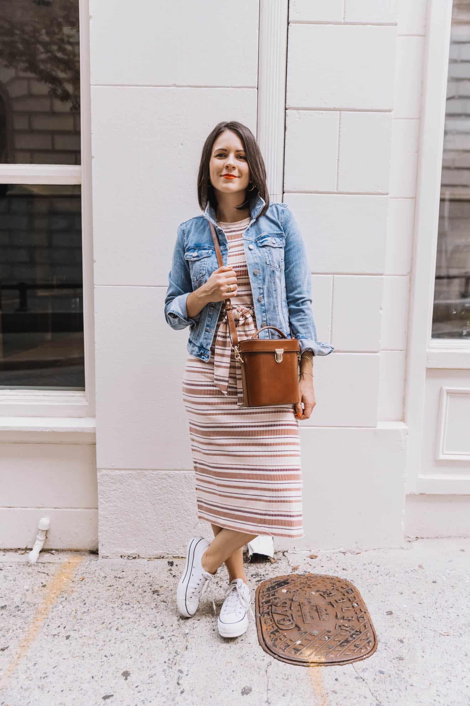 LOFT Striped Midi Dress