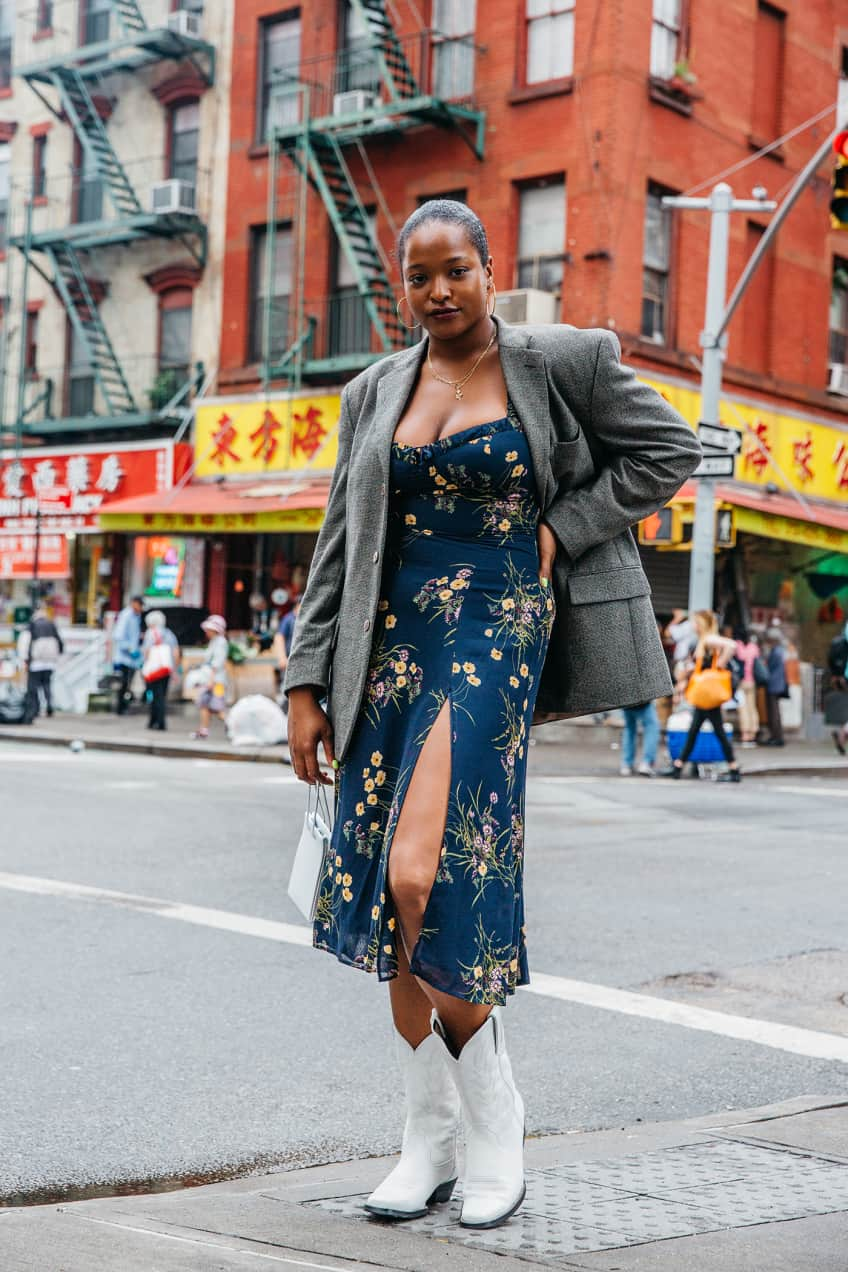 Cowboy Boots With A Midi Dress